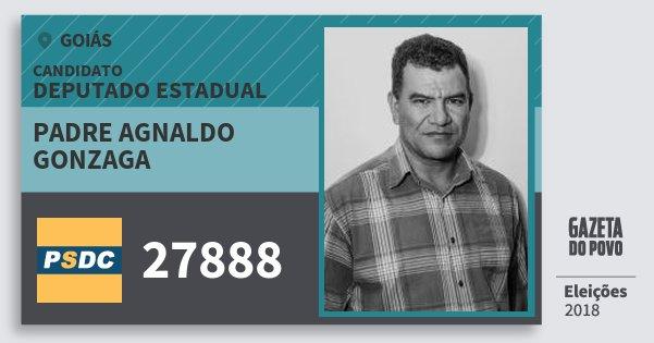 Santinho Padre Agnaldo Gonzaga 27888 (DC) Deputado Estadual | Goiás | Eleições 2018