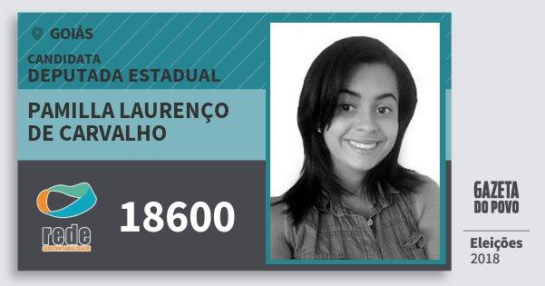 Santinho Pamilla Laurenço de Carvalho 18600 (REDE) Deputada Estadual | Goiás | Eleições 2018