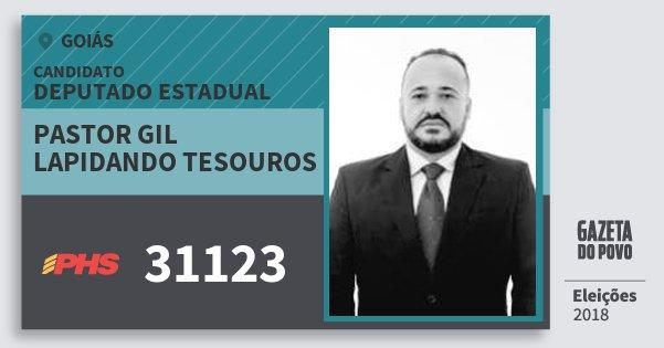 Santinho Pastor Gil Lapidando Tesouros 31123 (PHS) Deputado Estadual | Goiás | Eleições 2018