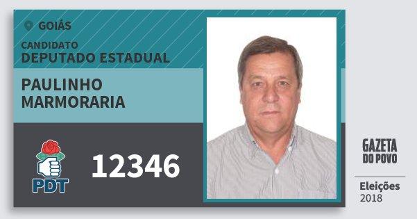 Santinho Paulinho Marmoraria 12346 (PDT) Deputado Estadual | Goiás | Eleições 2018