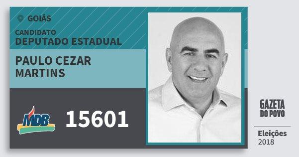 Santinho Paulo Cezar Martins 15601 (MDB) Deputado Estadual | Goiás | Eleições 2018