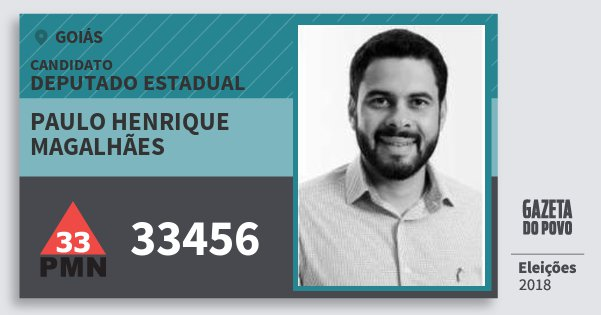 Santinho Paulo Henrique Magalhães 33456 (PMN) Deputado Estadual | Goiás | Eleições 2018