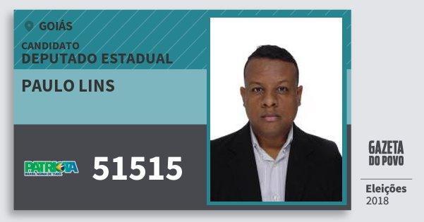 Santinho Paulo Lins 51515 (PATRI) Deputado Estadual | Goiás | Eleições 2018