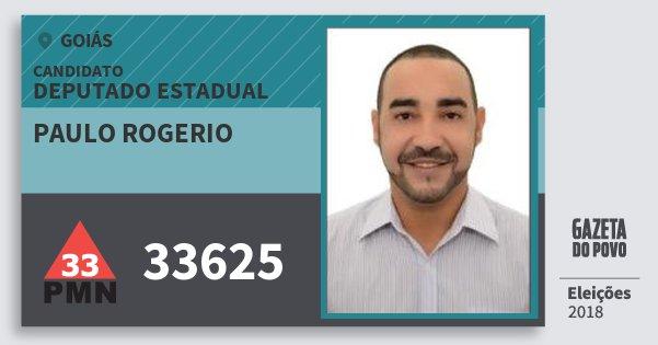 Santinho Paulo Rogerio 33625 (PMN) Deputado Estadual | Goiás | Eleições 2018
