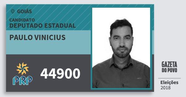 Santinho Paulo Vinicius 44900 (PRP) Deputado Estadual | Goiás | Eleições 2018