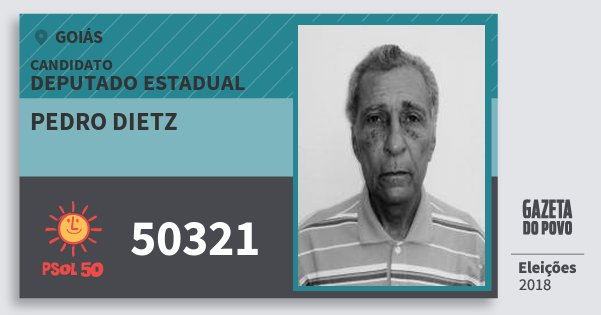 Santinho Pedro Dietz 50321 (PSOL) Deputado Estadual | Goiás | Eleições 2018