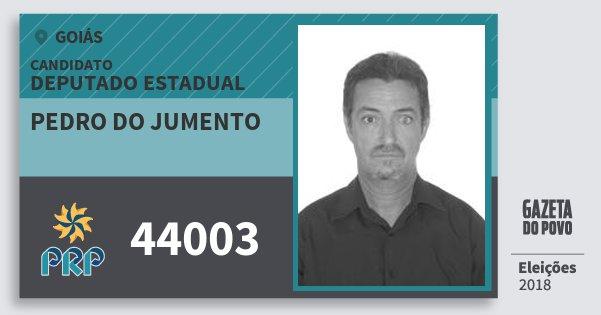 Santinho Pedro do Jumento 44003 (PRP) Deputado Estadual | Goiás | Eleições 2018