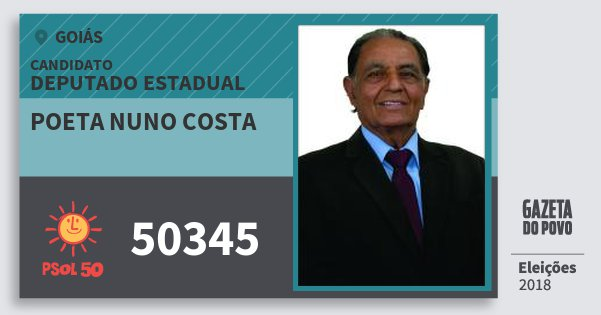 Santinho Poeta Nuno Costa 50345 (PSOL) Deputado Estadual | Goiás | Eleições 2018