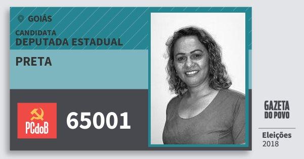 Santinho Preta 65001 (PC do B) Deputada Estadual | Goiás | Eleições 2018