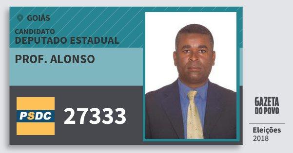 Santinho Prof. Alonso 27333 (DC) Deputado Estadual | Goiás | Eleições 2018