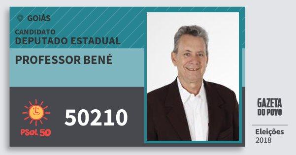 Santinho Professor Bené 50210 (PSOL) Deputado Estadual | Goiás | Eleições 2018