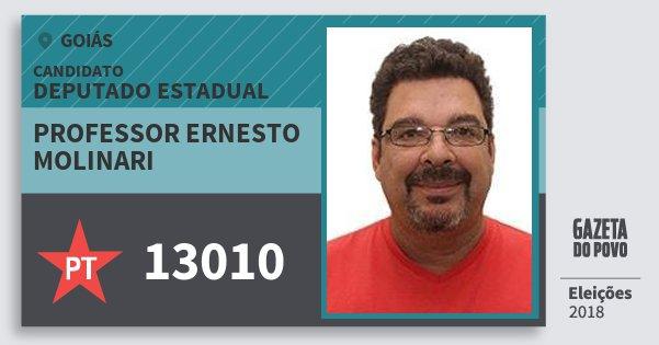 Santinho Professor Ernesto Molinari 13010 (PT) Deputado Estadual | Goiás | Eleições 2018