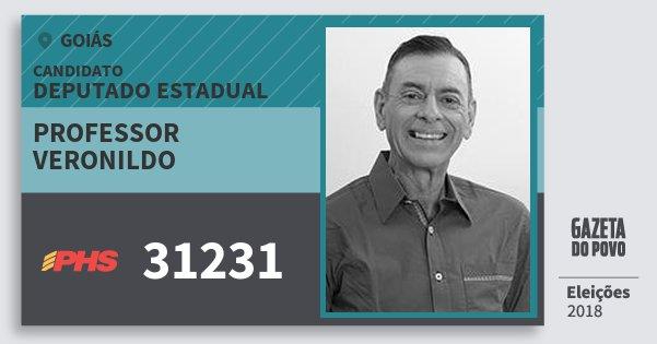Santinho Professor Veronildo 31231 (PHS) Deputado Estadual | Goiás | Eleições 2018