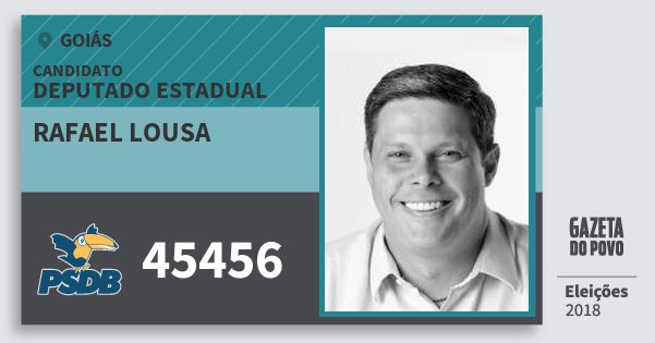 Santinho Rafael Lousa 45456 (PSDB) Deputado Estadual | Goiás | Eleições 2018