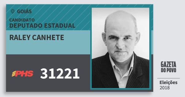 Santinho Raley Canhete 31221 (PHS) Deputado Estadual | Goiás | Eleições 2018