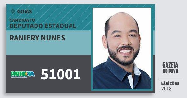 Santinho Raniery Nunes 51001 (PATRI) Deputado Estadual | Goiás | Eleições 2018