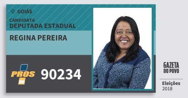 Santinho Regina Pereira 90234 (PROS) Deputada Estadual | Goiás | Eleições 2018