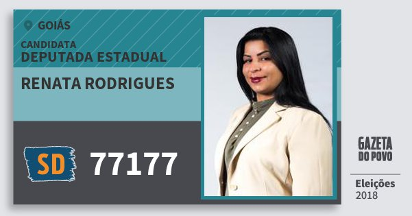 Santinho Renata Rodrigues 77177 (SOLIDARIEDADE) Deputada Estadual | Goiás | Eleições 2018