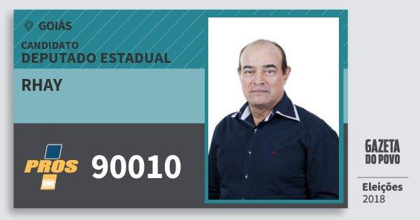 Santinho Rhay 90010 (PROS) Deputado Estadual | Goiás | Eleições 2018