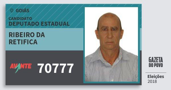 Santinho Ribeiro da Retifica 70777 (AVANTE) Deputado Estadual | Goiás | Eleições 2018