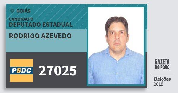 Santinho Rodrigo Azevedo 27025 (DC) Deputado Estadual | Goiás | Eleições 2018