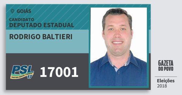 Santinho Rodrigo Baltieri 17001 (PSL) Deputado Estadual | Goiás | Eleições 2018