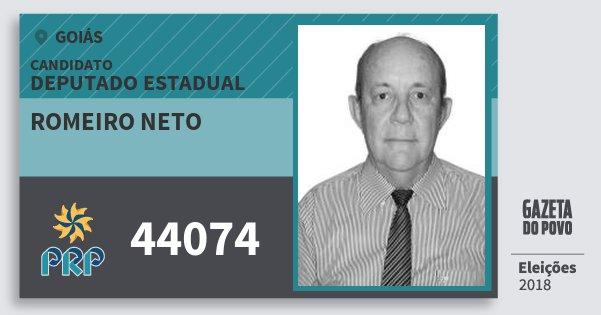 Santinho Romeiro Neto 44074 (PRP) Deputado Estadual | Goiás | Eleições 2018