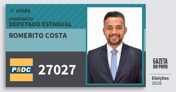 Santinho Romerito Costa 27027 (DC) Deputado Estadual | Goiás | Eleições 2018