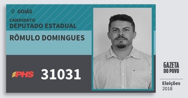 Santinho Rômulo Domingues 31031 (PHS) Deputado Estadual | Goiás | Eleições 2018