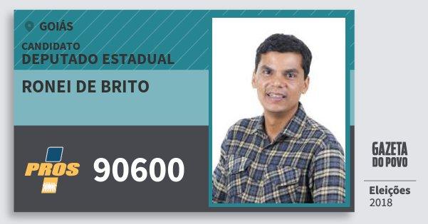 Santinho Ronei de Brito 90600 (PROS) Deputado Estadual | Goiás | Eleições 2018