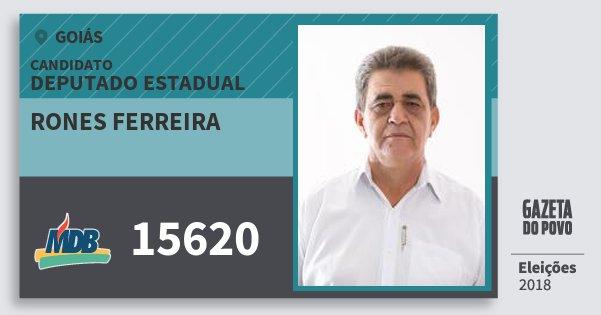 Santinho Rones Ferreira 15620 (MDB) Deputado Estadual | Goiás | Eleições 2018