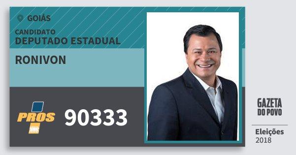 Santinho Ronivon 90333 (PROS) Deputado Estadual | Goiás | Eleições 2018