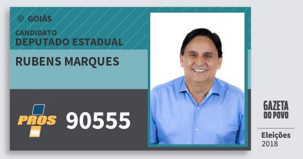 Santinho Rubens Marques 90555 (PROS) Deputado Estadual | Goiás | Eleições 2018