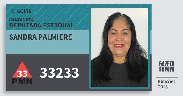 Santinho Sandra Palmiere 33233 (PMN) Deputada Estadual   Goiás   Eleições 2018