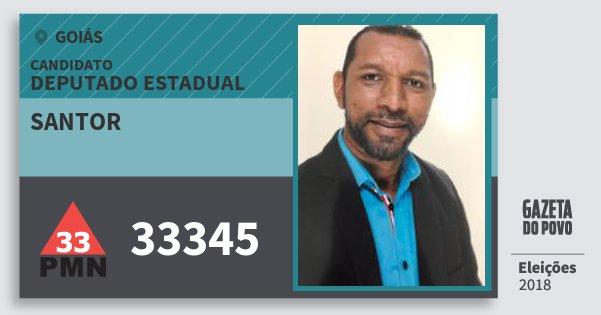 Santinho Santor 33345 (PMN) Deputado Estadual | Goiás | Eleições 2018