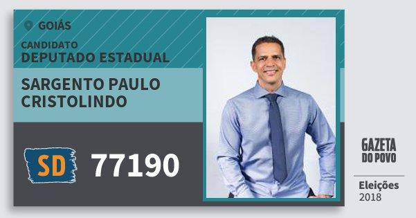 Santinho Sargento Paulo Cristolindo 77190 (SOLIDARIEDADE) Deputado Estadual | Goiás | Eleições 2018