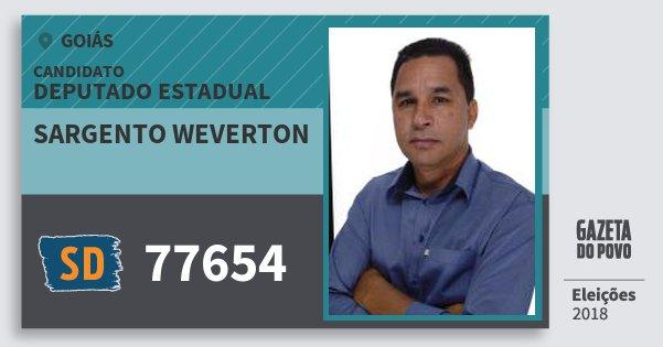 Santinho Sargento Weverton 77654 (SOLIDARIEDADE) Deputado Estadual | Goiás | Eleições 2018