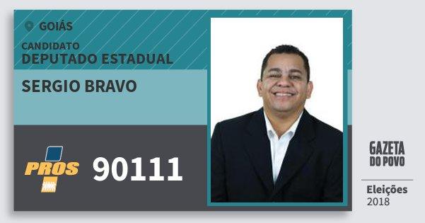Santinho Sergio Bravo 90111 (PROS) Deputado Estadual | Goiás | Eleições 2018