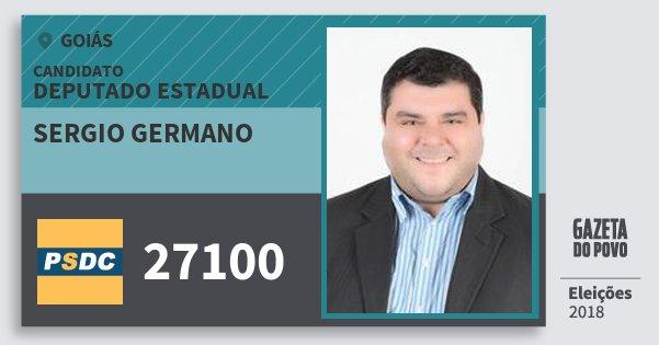 Santinho Sergio Germano 27100 (DC) Deputado Estadual | Goiás | Eleições 2018