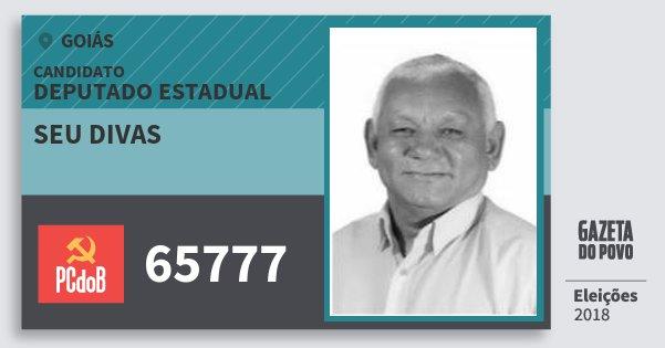 Santinho Seu Divas 65777 (PC do B) Deputado Estadual | Goiás | Eleições 2018