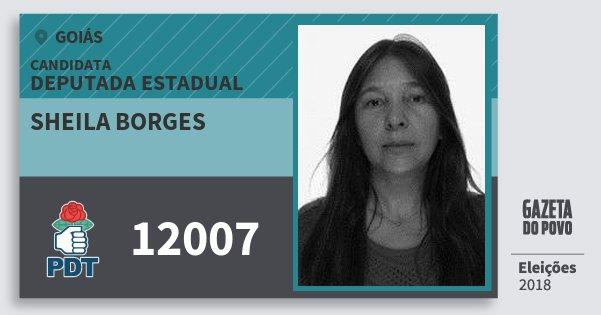 Santinho Sheila Borges 12007 (PDT) Deputada Estadual | Goiás | Eleições 2018