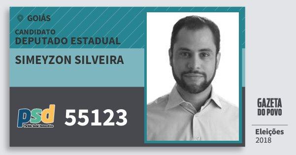 Santinho Simeyzon Silveira 55123 (PSD) Deputado Estadual | Goiás | Eleições 2018