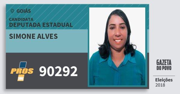 Santinho Simone Alves 90292 (PROS) Deputada Estadual | Goiás | Eleições 2018