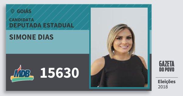 Santinho Simone Dias 15630 (MDB) Deputada Estadual | Goiás | Eleições 2018