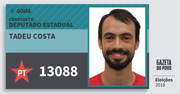 Santinho Tadeu Costa 13088 (PT) Deputado Estadual | Goiás | Eleições 2018