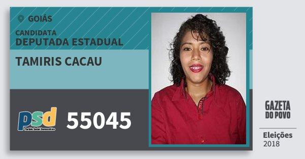 Santinho Tamiris Cacau 55045 (PSD) Deputada Estadual | Goiás | Eleições 2018