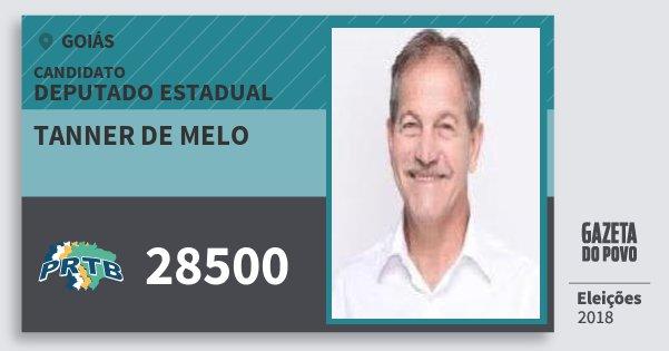 Santinho Tanner de Melo 28500 (PRTB) Deputado Estadual | Goiás | Eleições 2018