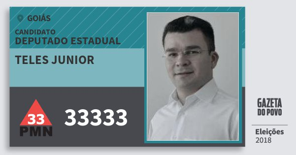 Santinho Teles Junior 33333 (PMN) Deputado Estadual | Goiás | Eleições 2018