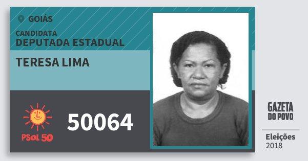 Santinho Teresa Lima 50064 (PSOL) Deputada Estadual | Goiás | Eleições 2018