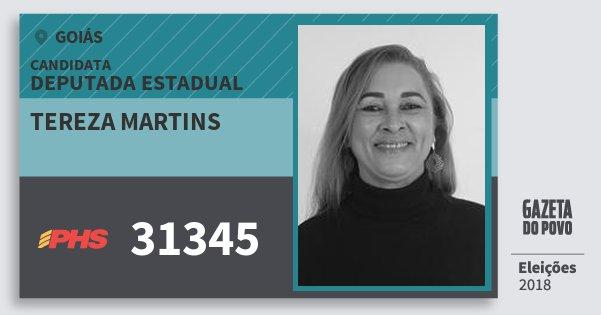 Santinho Tereza Martins 31345 (PHS) Deputada Estadual | Goiás | Eleições 2018